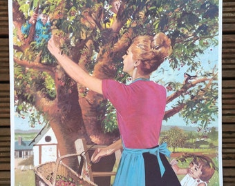 Vintage French School Poster (double sided) - Joyful Departure & The Cherry Season