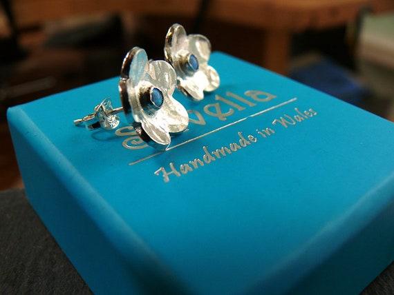 Opal Flower Earrings - Opal Studs - Silver Studs - Silver Opal Studs - Silver Earrings - Handmade in Wales