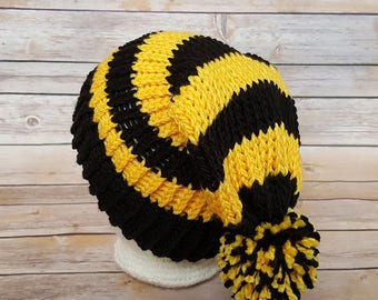 Black and Yellow Hat, Black Gold Beanie Hat, Black Gold Knit Hat, Steelers Hat, Bumble Bee Hat, Wizard House Hat, House Hat, Hufflepuff Hat
