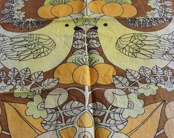 Vintage Kitsch Tea Towel -Yellow Love Birds with Orange Flowers