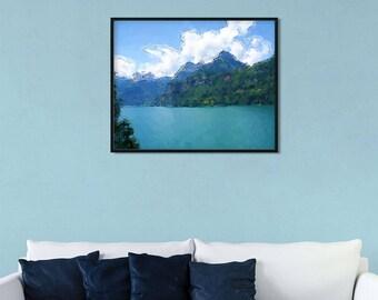 "Serene landscape ""Vibrant Lake"" by Malinee Ganahl. Fine Art Lustre Print.  Calm, Blue Lake surrounded by Hills.  Digital watercolor."
