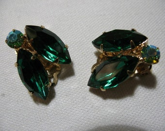 Vintage Green Rhinestone Ear Clips