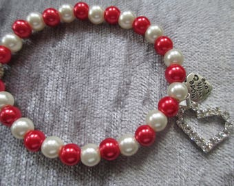 Diamante Heart charm bracelet red and ivory
