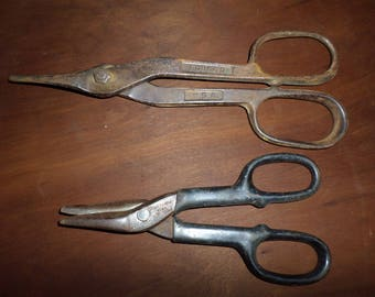 2 sheet metal snips 10 in and 7 in. industrial steam punk