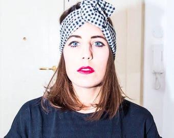 Black and white checkered headband/headband turban/Maxmara