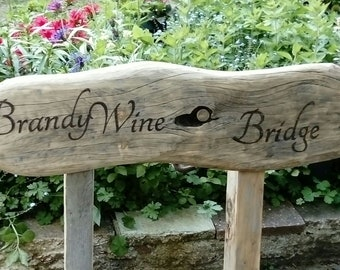 Chunky wooden garden signs