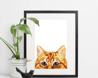 Ginger Cat Art Painting Print ~ Custom Cat Portrait Picture ~ Pet Cat Memorial ~ Gift