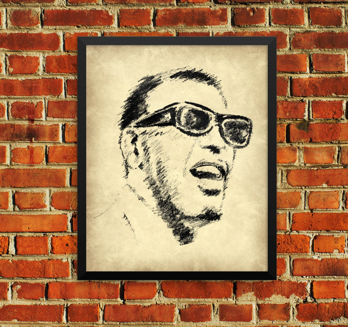 Ray Charles Sketch Wall Art Poster Print Music Singer