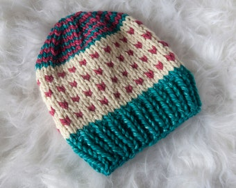 Teal and Pink Slouchy Beanie
