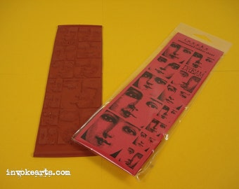 Dream Face Blocks / Invoke Arts Collage Rubber Stamps / Unmounted Stamp Set