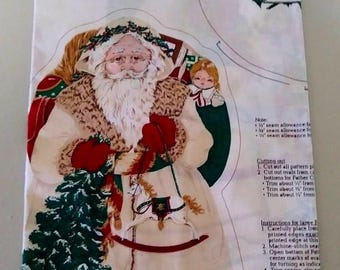On Sale Cranston Print Works, Father Christmas, Screen Print, Vintage and NEW, Makes 3 Soft Sculptures, Christmas Material, Cut & Sew Santa