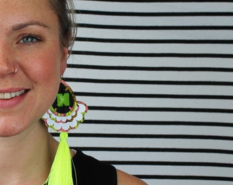STATEMENT TASSEL EARRINGS in fluorescent yellow. Cut from peach + yellow recycled, floral fabric. Oversize earrings. Holiday jewellery