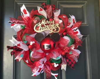 Mickey Mouse Christmas wreath, Mickey Christmas wreath, christmas wreath, mickey wreath, mickey christmas, whimsical christmas