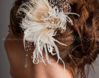 Ivory and Champagne Feather Birdcage Fascinator Peacock Eye with Fresh Water Pearls and Golden Shadow Crystals - Juliette Head Piece