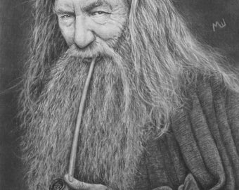 Gandalf Drawing Print - Lord of the Rings Artwork - Tolkien Lord of the Rings and Hobbit Art - Gandalf the Wizard Pencil Drawing