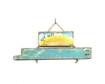 Personalize this Original Art-Key West Sunrise Sunset Handmade on Reclaimed Wood  Kids Room Beach Coastal Wall Art Home Goods Mangoseed