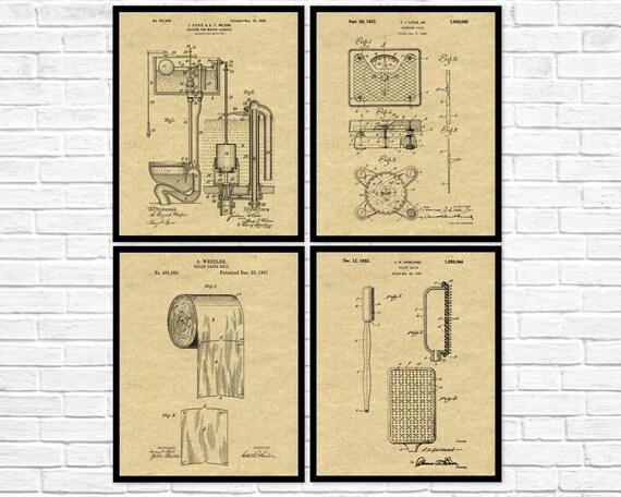 Bathroom Patent Set of 4 Bathroom Decor Bathroom Wall Art