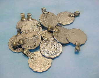 Vintage Pakistan Coins Upcycled Pendant Supplies Jewelry Pendants Earrings Altered Art Collage etc 13t123 P