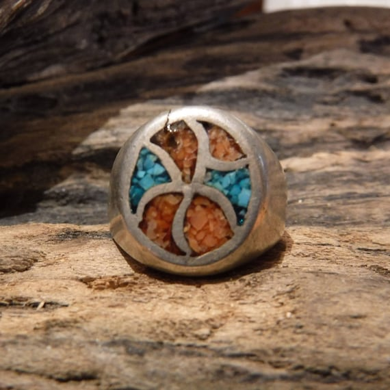 Vintage Mens Sterling Silver Ring Navajo Native American Heavy 10.5 Grams Size 8.5 Mens Silver Navajo Turquoise Coral Inlay Ring Mens Ring
