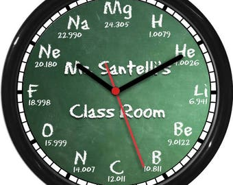 Scientific Periodic Table Wall Clock Chemistry Greenboard  and Ckalk Teacher Gift