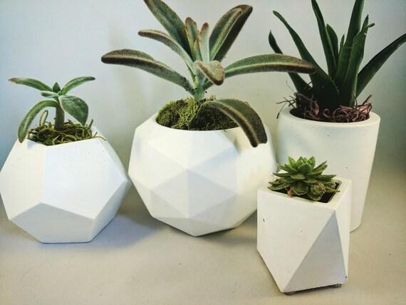 Beton übertopf saftiges pflanzgefäß weiß beton übertopf geometrische