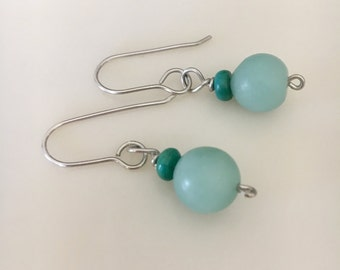 Amazonite Turquoise Drop Earrings, Sterling Argentium Silver Earwires, Modern Elegant Handmade Jewelry, Wire Wrapped, Genuine Blue Stone