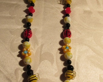 Ladybug and Bumble Bee Glass Beaded Necklace with Bumble Bee Metal Pendant and Earring Set (C121)
