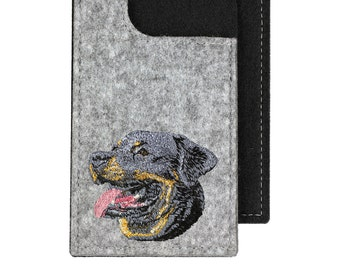 Rottweiler - A felt phone case with an embroidered image of a dog.