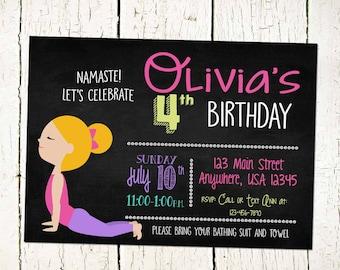 Yoga Invite- Yoga Invitation- Yoga Birthday Party- Yoga Party