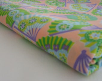 fabric cotton remnant in a PINK and PURPLE FAN pattern, measures  44 inches by 3.5 yards