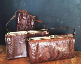 Vintage Handbag Lot, 1950s Brown Leather Reptile-Look Purses (3)