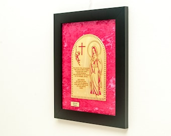Hail Mary Framed 22K Gold Finished Artwork Bible Gifts Religious Catholic Art Home Decor Available in Spanish