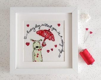 Puppy Love Freehand Machine Embroidery picture dog & umbrella best friends baby shower childs room birthday gift textile art