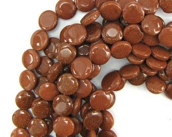 "12mm goldstone coin beads 16"" strand 12893"