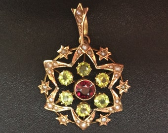 Edwardian 9ct Gold Seed Pearl, Peridot and Garnet necklace pendant - Antique Pendant - Vintage Pendant - Seed Pearl Pendant - Garnet pendant