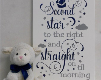 Second Star to the right and Straight on Til Morning - Peter Pan Nursery / Gray Nursery Playroom Decorating Ideas, Peter Pan Quote