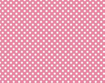 Riley Blake Small Dots Hot Pink, C350-70 Hot Pink, 1/4 Inch White Dots on Hot Pink, Sold In Half Yd Amounts