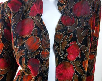 British Vintage Floral Jacket, Burnt Orange Red Bronze Brown Gold Velour Cropped Jacket, Tulip Pattern Smart Blazer: Size 14 US, Size 18 UK