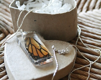 Handmade Monarch Butterfly Wing Resin Pendant Necklace With Metal Chain
