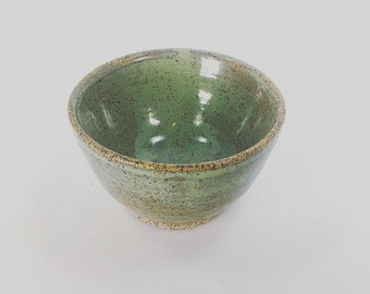 Vintage Pottery Bowl Salt Cellar Jewelry Dish Drip Glaze Teal Blue and Brown Catchall 1980's