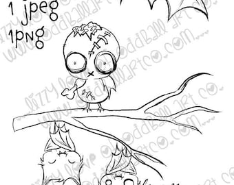 Digital Stamp Instant Download Whimsical Halloween ~ Bats & Zombie Image No. 407 by Lizzy Love