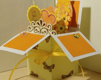 Handmade Get Well pop up exploding box card- 2 variations- Free Shipping in USA