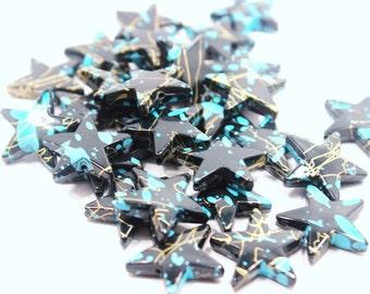 Black & Teal étoiles perles Six 22mm grande nuit étoilée céleste métallisé ciel l'espace mode léger Jet Constellation ébène Splatter