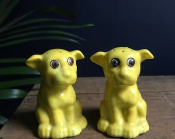 Ceramic Yellow Dog Salt and Pepper Shakers Made In Japan