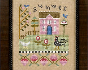 Lizzie Kate Flip-It F139 - Summer - Counted Cross Stitch Chart Pattern with Buttons