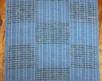 Handwoven Rag Rug - Blue on Blue Checkerboard Inlaid Pattern (Inv. ID #05-1061)