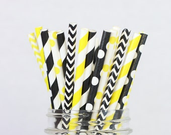 Bumble Bee Paper Straws, Bumblebee Baby Shower Decor, Black Yellow Party Supplies, What Will It Bee, Gender Reveal Party Decorations