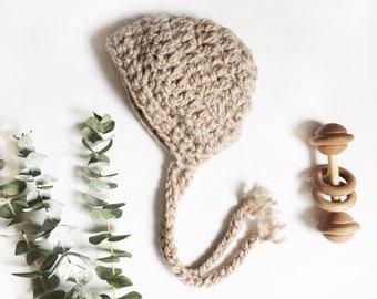 Baby Bonnet//crochet baby bonnet, alpaca luxury yarn, baby boy, baby girl, baby hat, bear bonnet