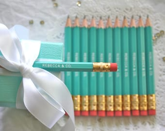 Turquoise Blue Mini Pencils, PERSONALIZED Favors