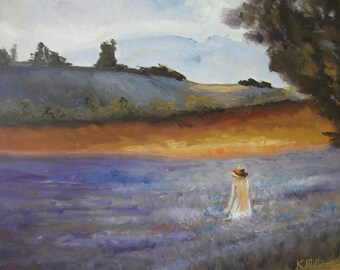THE LAVENDER FARM, flowers, purple, orange, large, girl, long hair, beautiful, artist signed, New Zealand art, gift for her, wedding gift